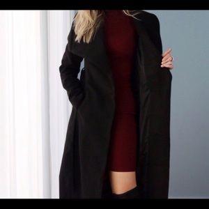 90's Style VTG•Velvety Long Lightweight Black Coat